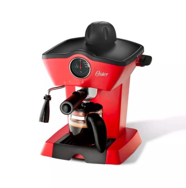 Cafetera de vapor para espresso y capuccino Oster roja